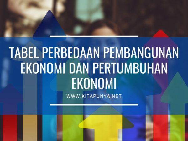 tabel perbedaan pembangunan dan pertumbuhan ekonomi