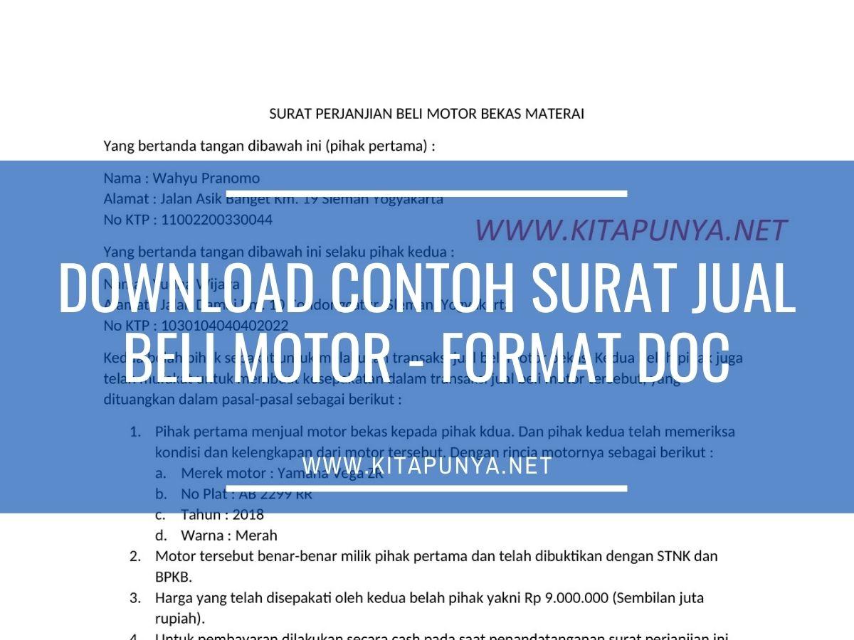 Contoh Surat Jual Beli Motor Format Word Doc Download Gratis