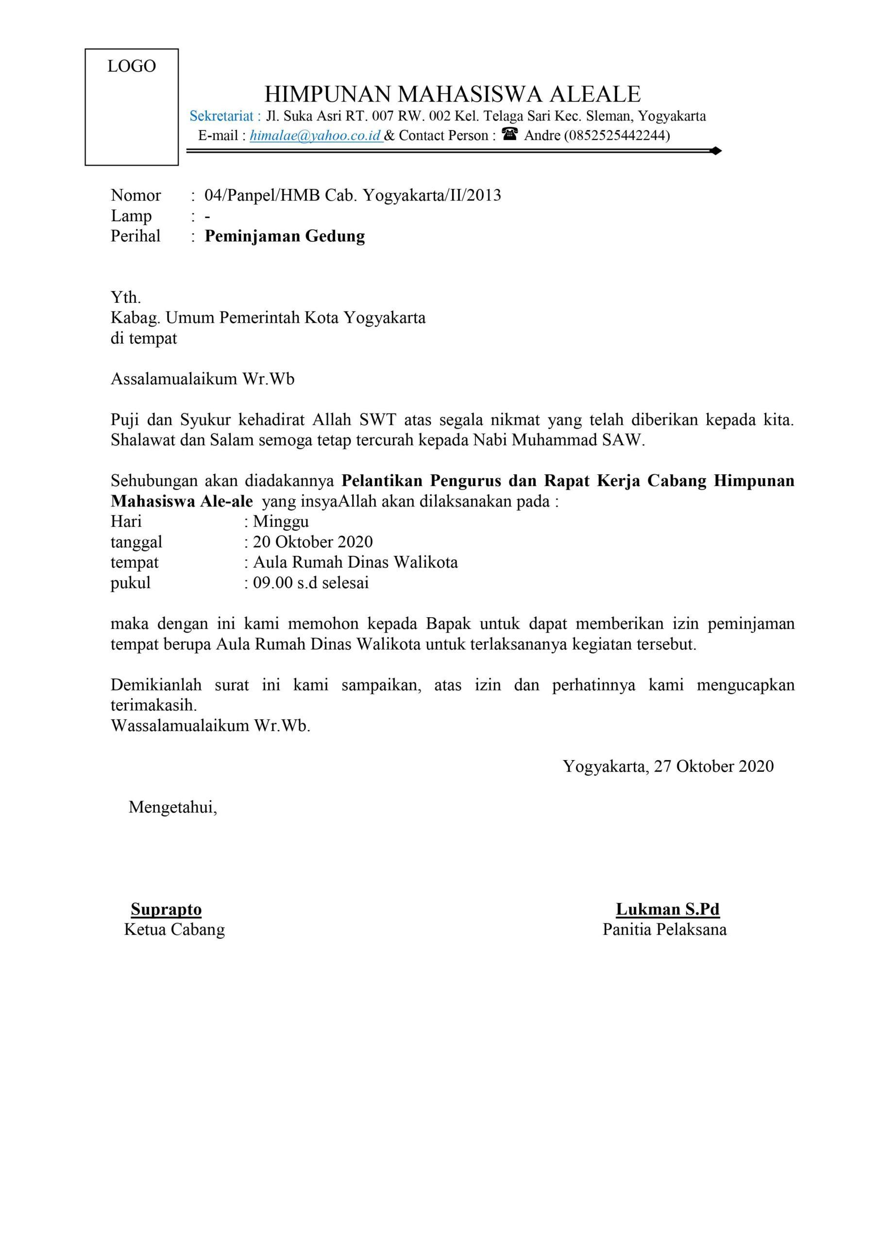 contoh surat peminjaman gedung dinas aula