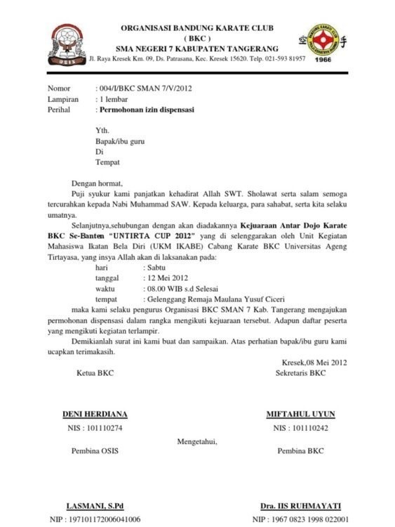 contoh surat dispensasi kuliah dari organisasi