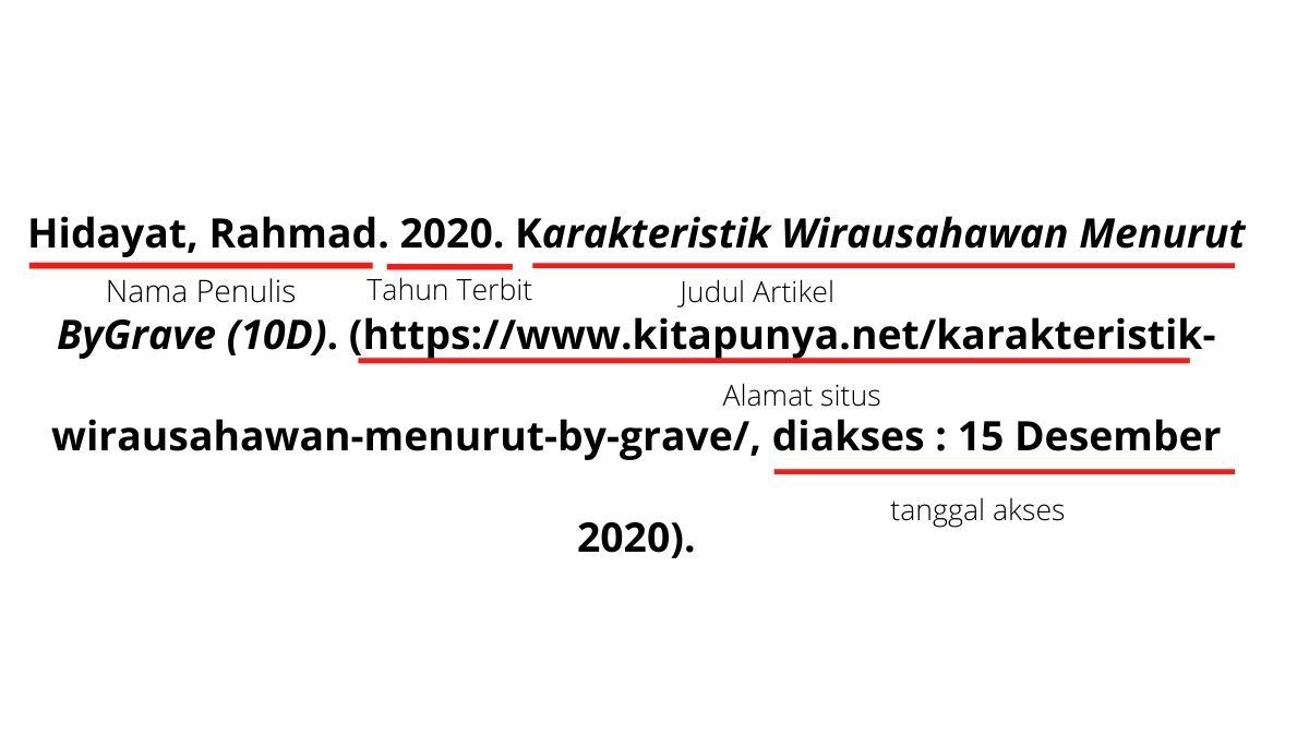 format penulisan daftar pustaka dari internet