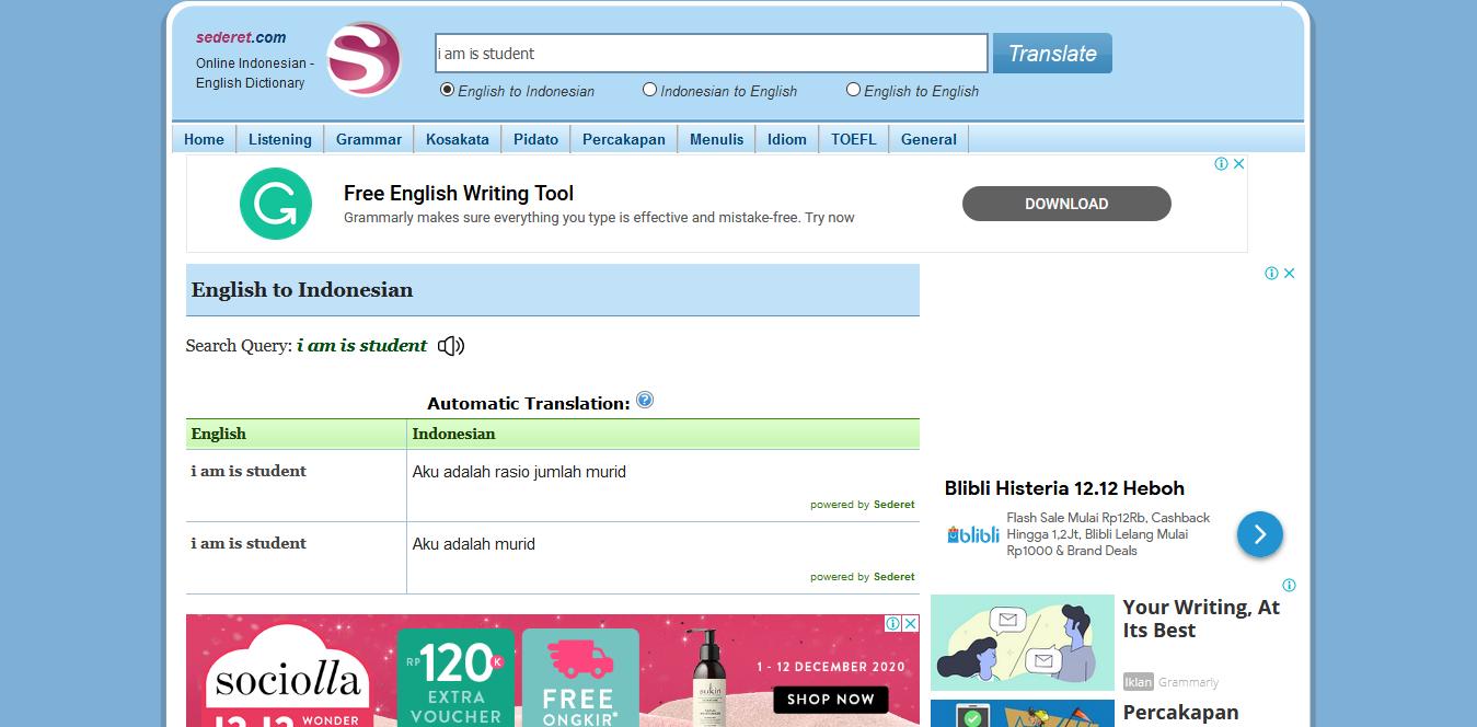 translate asal indonesia - sederet