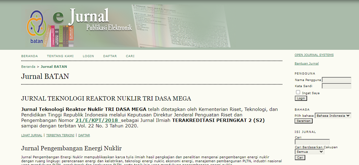 jurnal batan publikasi elektronik