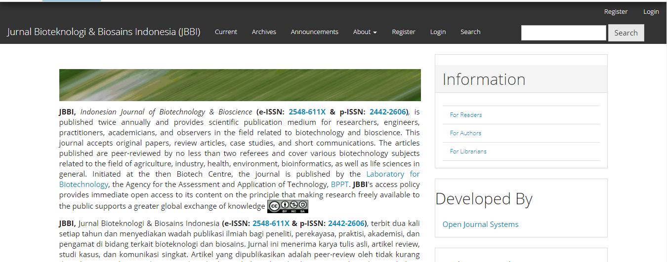 jurnal bioteknologi dan biosains indonesia